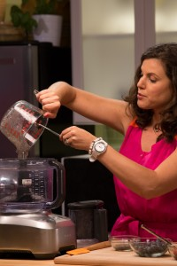 The chia mixture and fruit of choice go into the food processor until well mixed.